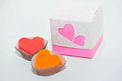Box of hearts chocolates Stock Photo