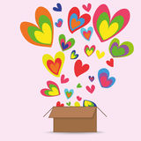 Box of Hearts Royalty Free Stock Photos