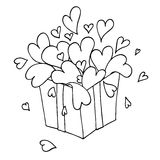 Box with hearts. Love gift. Box with hearts on white background. Love gift Stock Image