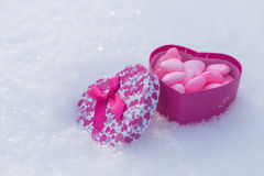 Box with hearts. In the snow Royalty Free Stock Photography