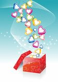 Box With Hearts On Sunburst Background Stock Images