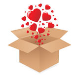 Box With Hearts. Vector Royalty Free Stock Photos