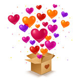 Box and hearts. Vector illustration of a box and hearts Stock Images