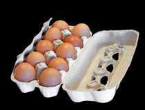Box with hen eggs isolated on black Royalty Free Stock Image