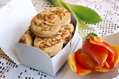 Box with homemade cookies for present royalty free stock photo