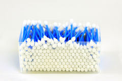 Box of hygienic swabs. See through box of cotton sticks royalty free stock images