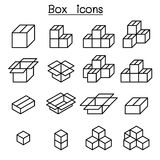 Box icon set in thin line style. Vector illustration graphic design Royalty Free Stock Image