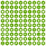 100 box icons hexagon green. 100 box icons set in green hexagon isolated vector illustration Stock Photo