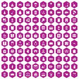 100 box icons hexagon violet. 100 box icons set in violet hexagon isolated vector illustration vector illustration