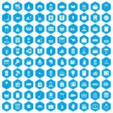 100 box icons set blue. 100 box icons set in blue hexagon isolated vector illustration Royalty Free Stock Image