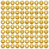 100 box icons set gold. 100 box icons set in gold circle isolated on white vectr illustration Royalty Free Stock Photo
