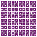 100 box icons set grunge purple. 100 box icons set in grunge style purple color isolated on white background vector illustration Stock Photo