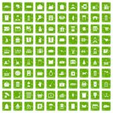 100 box icons set grunge green. 100 box icons set in grunge style green color isolated on white background vector illustration Stock Photography