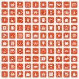 100 box icons set grunge orange. 100 box icons set in grunge style orange color isolated on white background vector illustration vector illustration