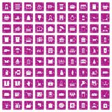 100 box icons set grunge pink. 100 box icons set in grunge style pink color isolated on white background vector illustration royalty free illustration
