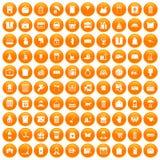 100 box icons set orange. 100 box icons set in orange circle isolated vector illustration vector illustration