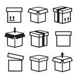 Box  icons set. Package box container, packaging box icon Stock Image