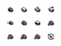 Box icons on white background. Stock Photo