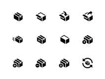 Box icons on white background. Stock Photo