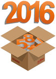 2016 box. Illustration of brown box with 2016 colorful text Stock Image