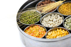 Box of Indian food grains Stock Photo