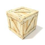 box isolated wooden Взгляд со стороны 3d представляют Стоковая Фотография RF