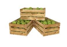 box isolated wooden Вполне плодоовощ яблок белизна изолированная предпосылкой иллюстрация штока