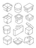 Box isometric icon. Cardboard export package container small present with bow vector outline symbols. Illustration of outline box and package, parcel and pack vector illustration