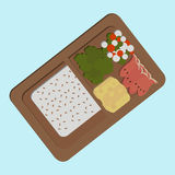 Box. Japanese box lunch sashimi bento set - vector Stock Photo