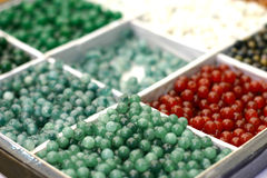 Box of jewellery beads royalty free stock photography