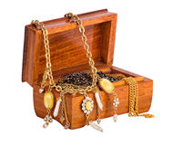Box with jewelry isolated on whote Stock Image