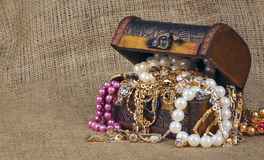 Box with jewelry on sacking Royalty Free Stock Images