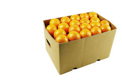 Box of juicy oranges Royalty Free Stock Photo