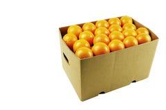 Box of juicy oranges royalty free stock photo