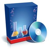 Box with laboratory glasses. Blue blank 3d box with different coloured chemical substances and CD Royalty Free Stock Photo