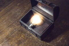 Box lamp. Burning lamp is placed in a box Royalty Free Stock Photos