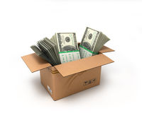 Box with large dollars bills isolated on white background Royalty Free Stock Photo