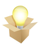 Box and Light Bulb illustration Stock Photos