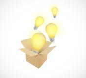 Box and light bulbs illustration design Royalty Free Stock Photography