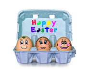 Box of little people eggs Happy easter Royalty Free Stock Photography