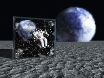 Box on lunar like surface Royalty Free Stock Photo