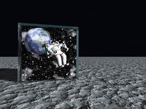 Box on lunar like surface contains astronaut Royalty Free Stock Photo