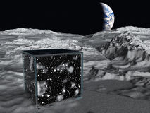 Box on lunar surface Royalty Free Stock Image