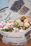 Box of macaroons and flowers Royalty Free Stock Images