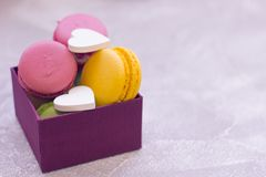 A box of macaroons stock photography