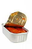 Box with mackerel in tomato sauce Royalty Free Stock Images