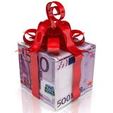 Euro as a gift. The box made from European Union currency notes 500 euro tied with a red ribbon and a bow. 3D Illustration Stock Photo