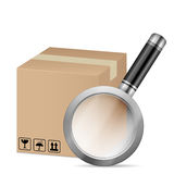 Box and magnifying glass Royalty Free Stock Photos