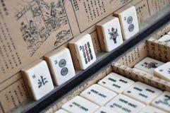 Box of Mahjong tiles. Box of old Mahjong tiles royalty free stock photo