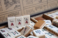 Box of Mahjong tiles Royalty Free Stock Images